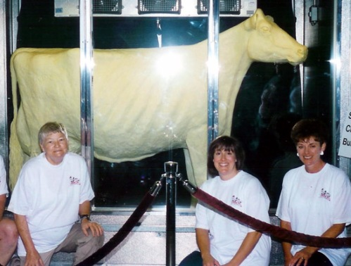 "Norma ""Duffy"" Lyon (The Butter Cow Lady) taught Deborah Brown and Barbara Westover how to create a butter sculpture"