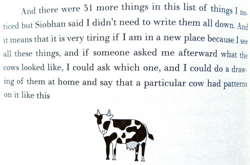 Cow drawing in The curious incident of the dog in the night-time