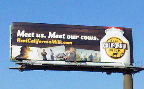 Real California Milk billboard - Meet us. Meet our cows.