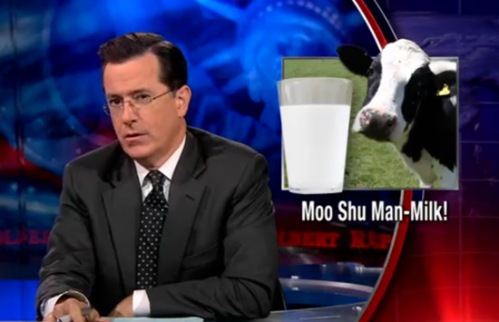 Stephen Colbert discusses cows making human milk