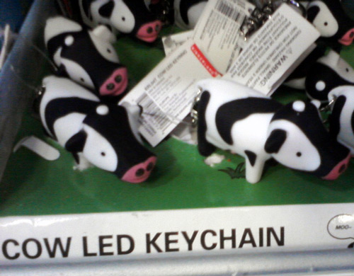 LED cow keychain at Party City