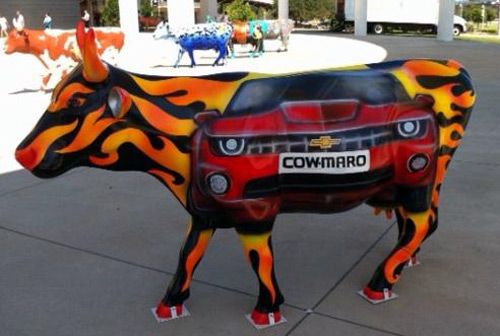 Cow-maro sculpture at the Cow Parade in Austin, TX 2011