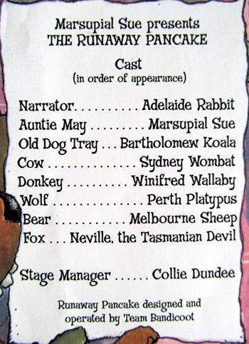 Cast listing for Marsupial Sue presents the runaway pancake