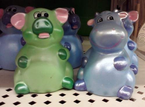 Mini pig bank and mini cow bank at Michael's