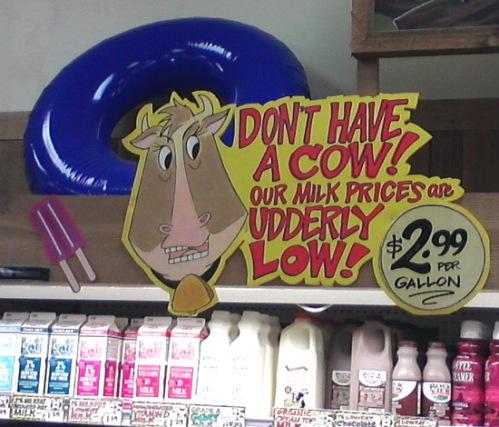 Cow and milk prices at Trader Joe's