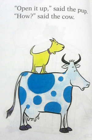 The cow in What is said? said the cat book