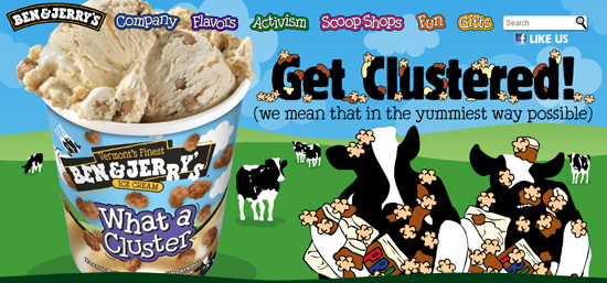 Ben & Jerry website with cows