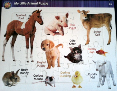 Farm animal puzzle with cow