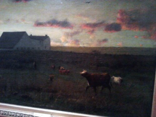 Farm landscape, cattle in pasture painting by George Inness
