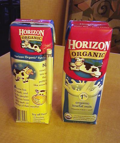 Horizon's Organic milk cartons with cows