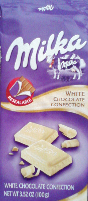 Milka white chocolate with the purple cow