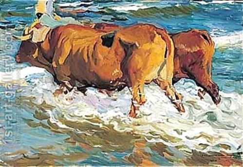 Oxen in the sea painting by Joaquin Sorolla y Bastida