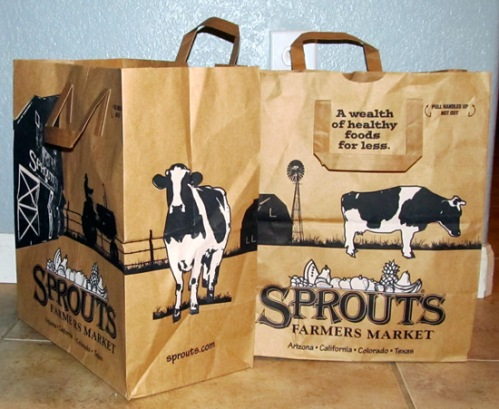 Sprouts shopping paper bag with cows