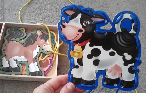 Melissa & Doug lacing game with cow
