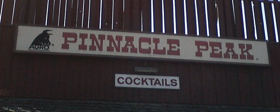 Pinnacle Peak restaurant sign with bull logo