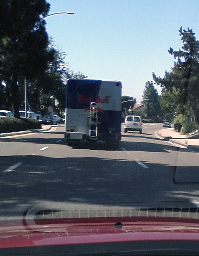 Red Bull logo on Red Bull truck