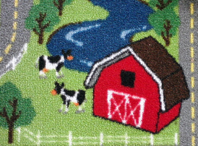 Play rug with cows