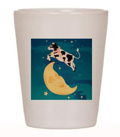 Shot glass with the cow jumping over the moon