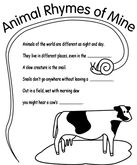 Rhyming puzzle with a cow