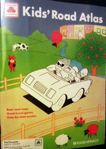 State Farm Insurance Kids' Road Atlas with red cow
