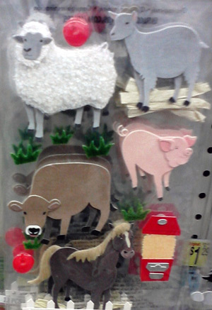 Farm animal stickers with cow stickers