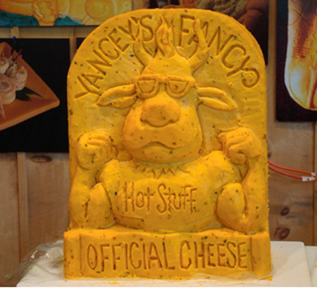 Cheese lady cow sculpture