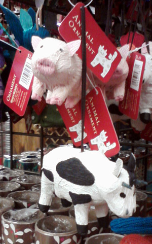 Christmas tree cow ornament and pig ornament
