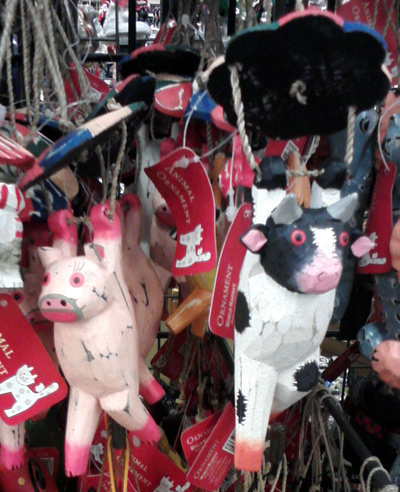 More Christmas tree pig and cow ornaments at CostPlus
