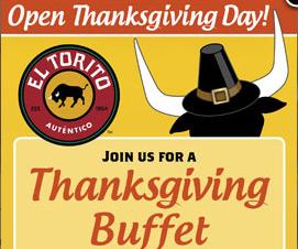 El Torito Thanksgiving pilgrim bull logo