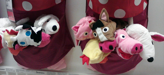 Animal hand puppets at IKEA