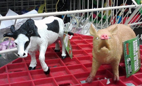 Realistic cow and pig at Michael's art & craft store