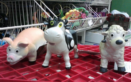 Funny pig, cow and sheep at Michael's art & craft store