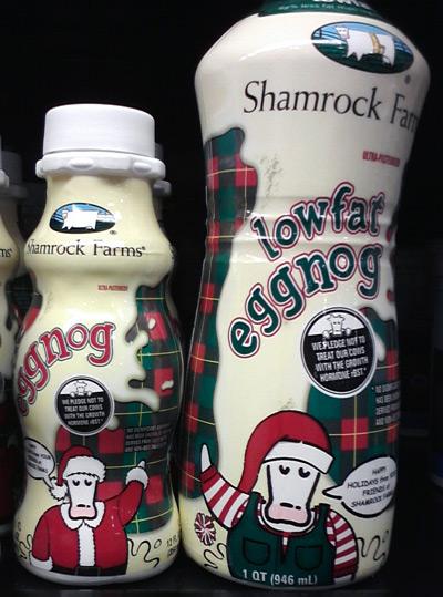 Shamrock Farms eggnog with cows