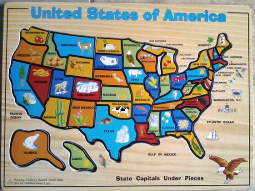United States of America - State map wooden puzzle