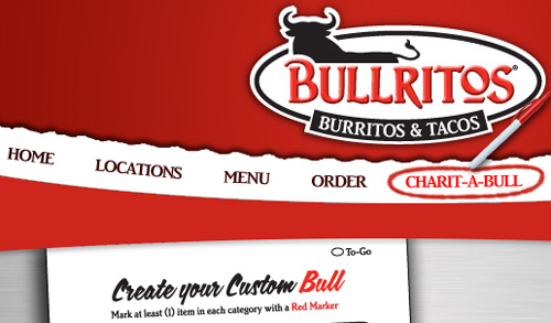 Bullritos website with a bull logo