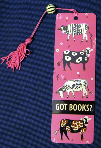 Cow bookmark - got books?