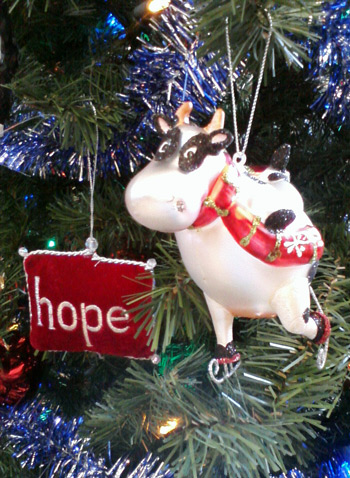 Christmas tree cow ornament - ice skating cow