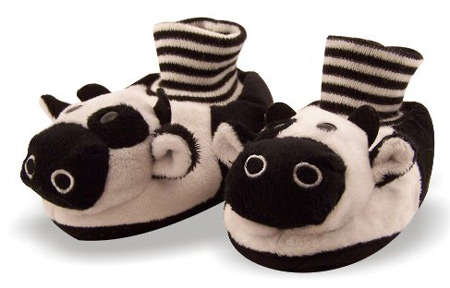 Toddler size cow slippers
