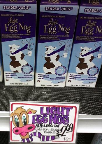 Eggnog with cows at Trader Joe's