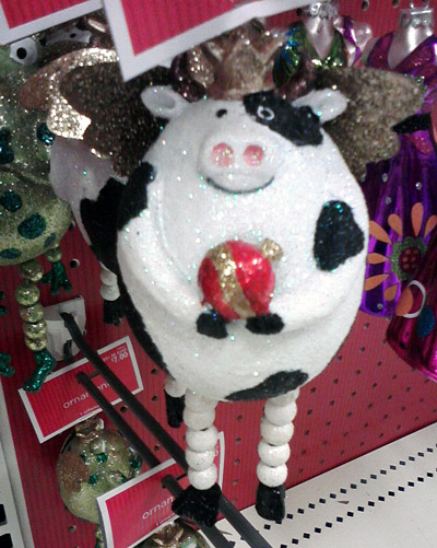 Pig cow Christmas tree ornament at Target