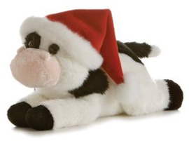 Plush cow with Santa hat
