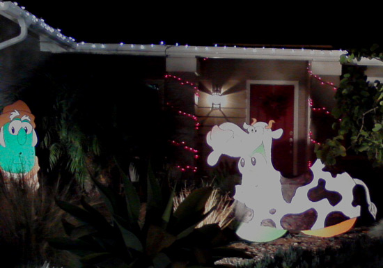 Veggie Tales cow on Starlight Circle - Christmas lights, Christmas decorations