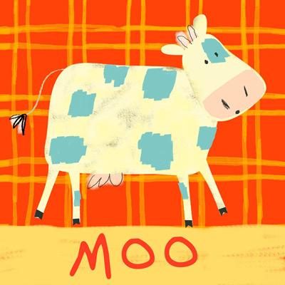 Baby bedroom cow wall canvas art