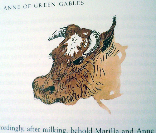 Picture of a cow in Anne of Green Gables