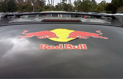 Red Bull energy drink logo on car back windshield