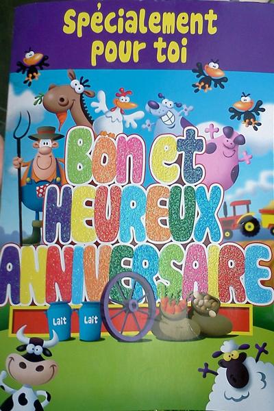 Birthday card with Old McDonald has a farm theme