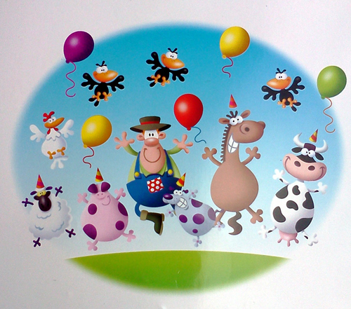 Birthday card with dancing cow