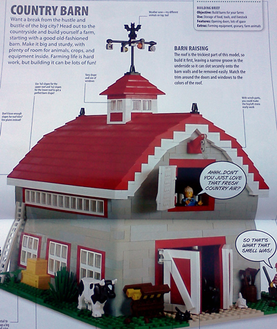 Lego country barn and cow