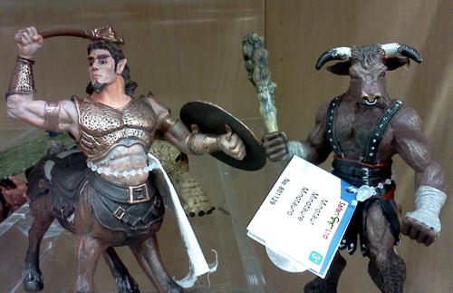 Centaur and minotaur figurines at Michael's art & craft store
