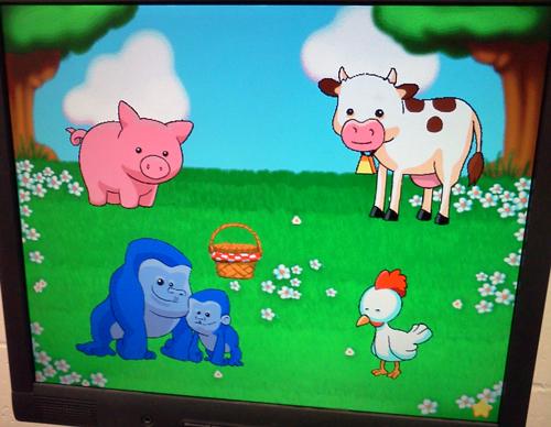 Reader Rabbit preschool computer game with animals